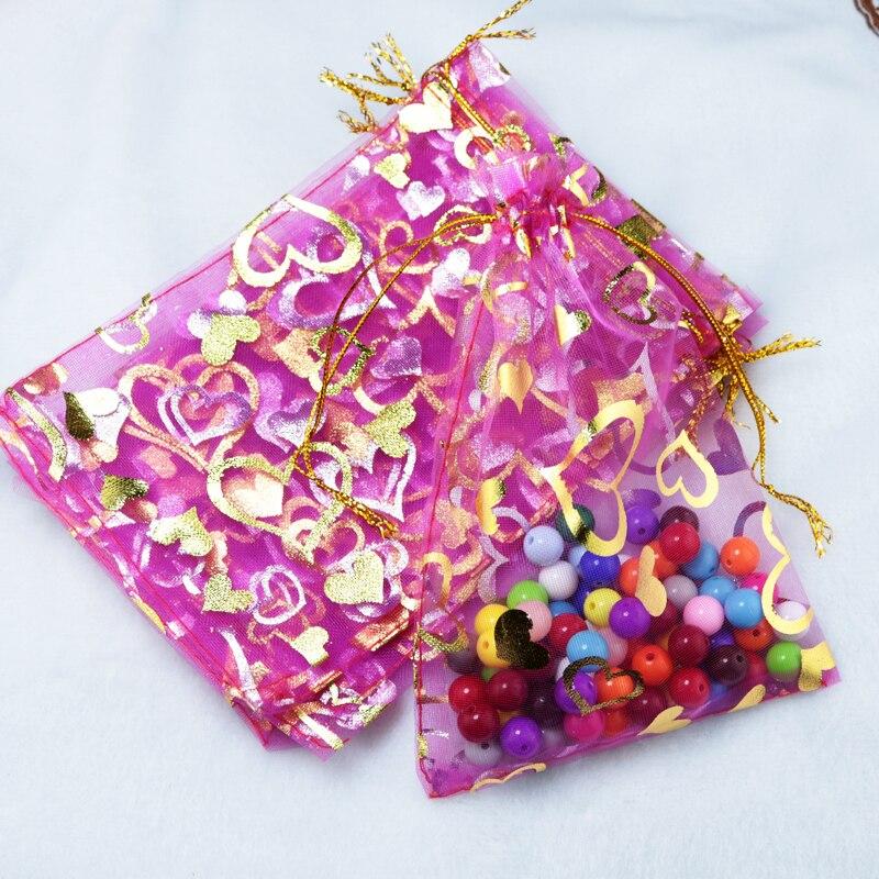Großhandel 100 stücke Pink Schmuck Tasche 17x23 cm Herz Design Organza Tasche Favor Cany Geschenk Schmuck Verpackung taschen Drawstrig Beutel