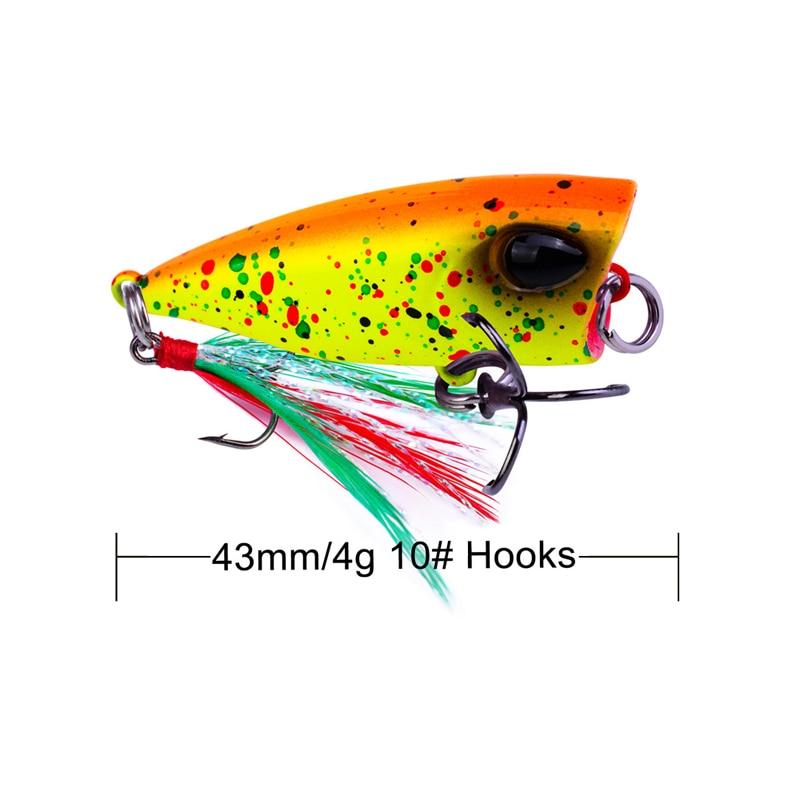 Vissen 3/6pcs Popper Fishing 4.3cm/4g Topwater baits Crankbait Seabass Lures Artificial Wait Feather Hook Colored Hard Lure enlarge