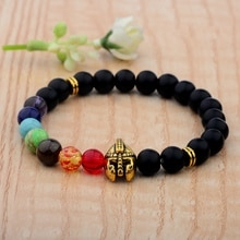 Casque guerrier perles de pierre noir mat 7 Chakra Bracelet bouddha couronne singe tête Onyx naturel Bracelets en pierre pour hommes femmes