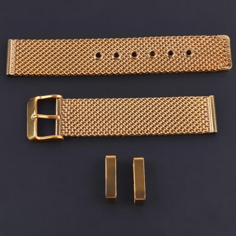 Купить с кэшбэком Stainless Steel Mesh Milanese Watch Band Strap Wrist Watchband Wristwatch Buckle Black Rose Gold Silver 18mm 20mm 22mm 24mm