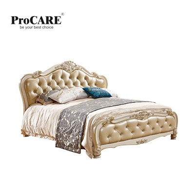 Lujosa cama de cuero, muebles de dormitorio de estilo europeo y americano