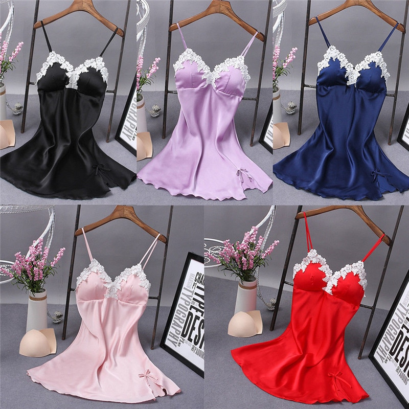 Ladies Sexy Silk Sleepwear Satin Nightgown V-neck Nightdress Slip Nighties Summer Night Dress Lace Night Gown Lingerie For Women