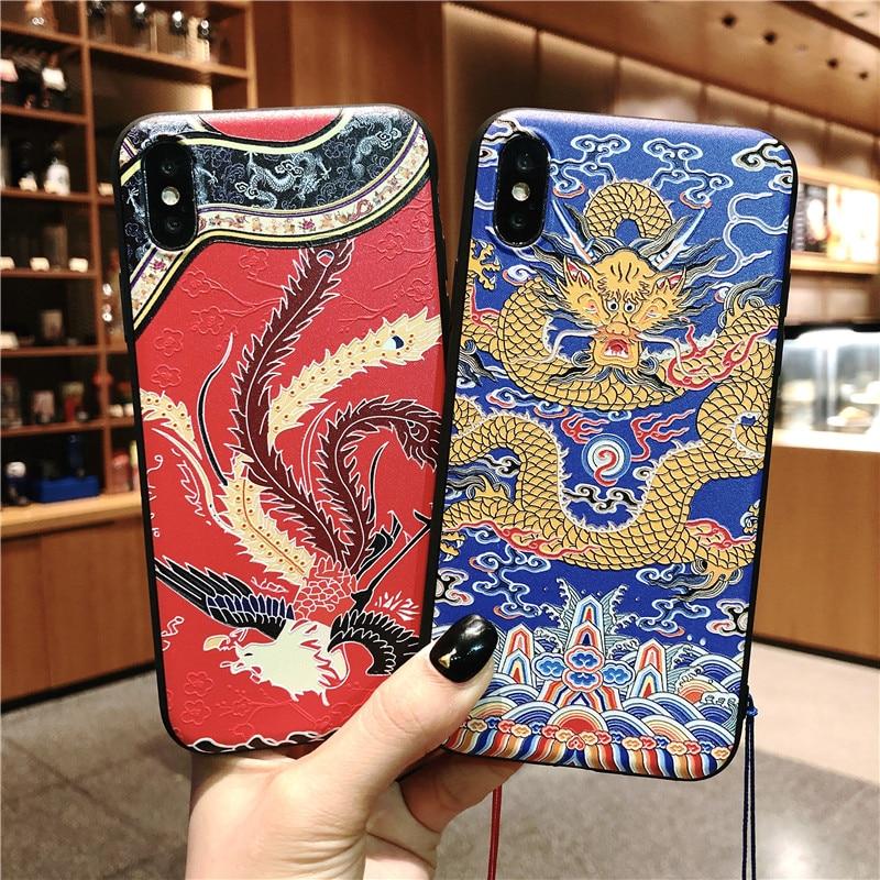 Funda de lujo para teléfono con borla en relieve dragón cheongsam de Phoenix para iPhone 11 Pro X XS XR XS Ma 6 7 8 Plus