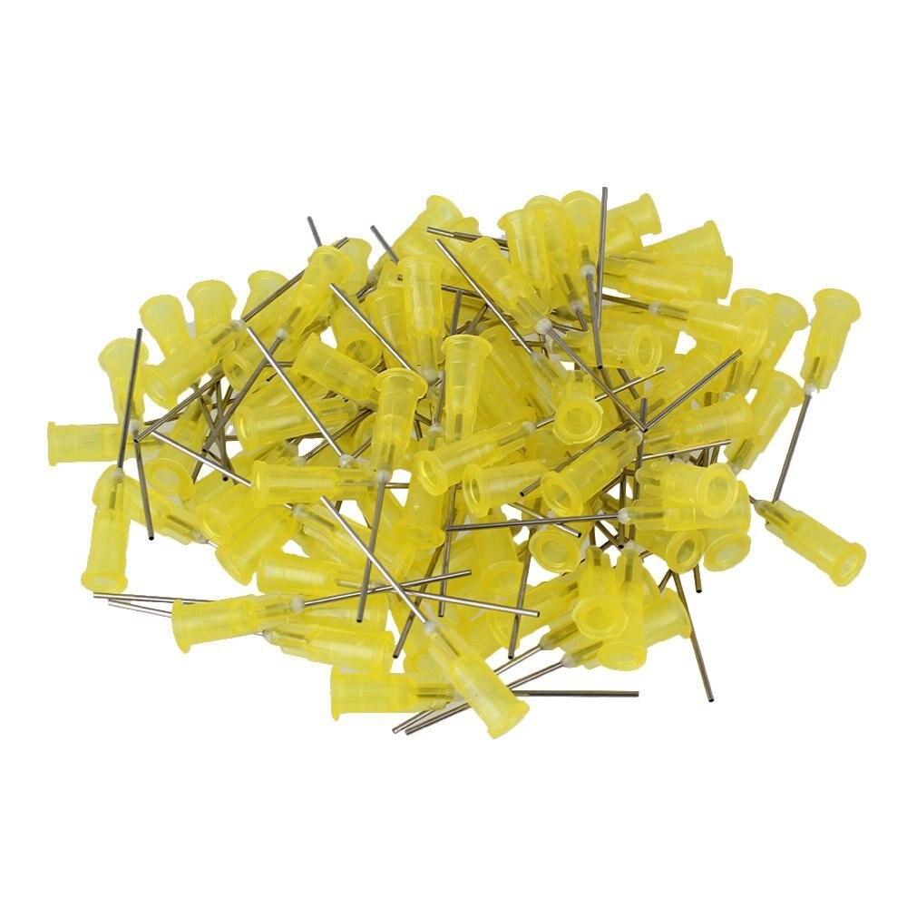 20ga amarelo 1 plastic plastic plástico preso conector de aço inoxidável dispensador agulhas de cola adesiva líquida seringa pacote de 100