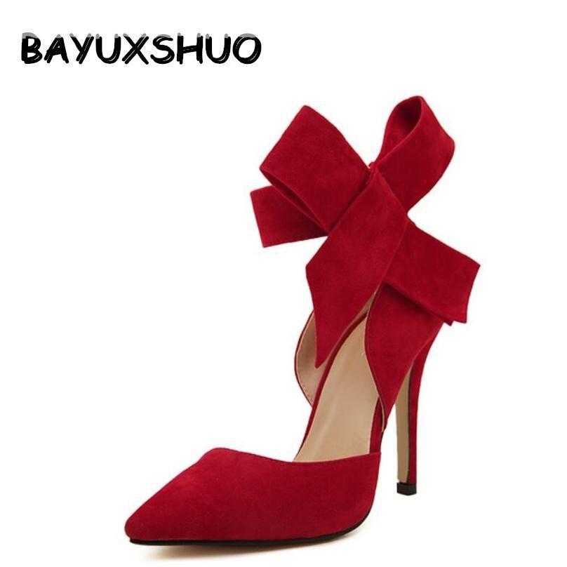 BAYUXSHUO, zapatos de tacón de aguja con lazo grande para mujer, zapatos de tacón alto con mariposa, zapatos de boda de talla grande, aconsejables con lazo