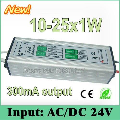 2 piezas LED impermeable LED conductor 300mA AC/DC24V 10 w 12 w 15 w 18 w 25 w 10-25x1W controladores de corriente constante para iluminación LED
