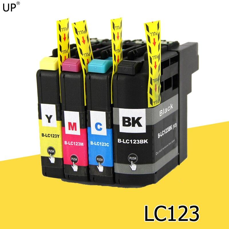 4 unids/set LC123 cartuchos de tinta Compatible para hermano DCP-J132W J152W J552W J172W J752W con rearme automático chip impresora