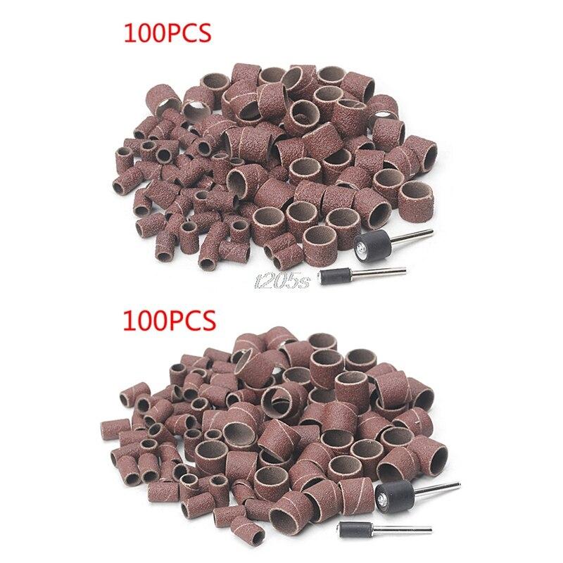 Mangas de banda de lijado de 100 y 1/2 pulgadas, Kit de tambor de papel de lija de goma con 2 mandriles T16, 1/4 Uds.