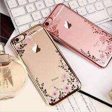 Nouveau luxe Secret jardin fleurs strass cellule coque de téléphone pour iphone 7 placage or Rose housse pour iphone 7 plus coque