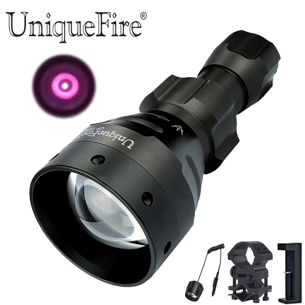 UniqueFire 1504 IR Flashlight T67 940nm Hunting Torch Flashlight Lantern 3 Mode kit set+Pressure Switch+Scope Mount+USB Charger