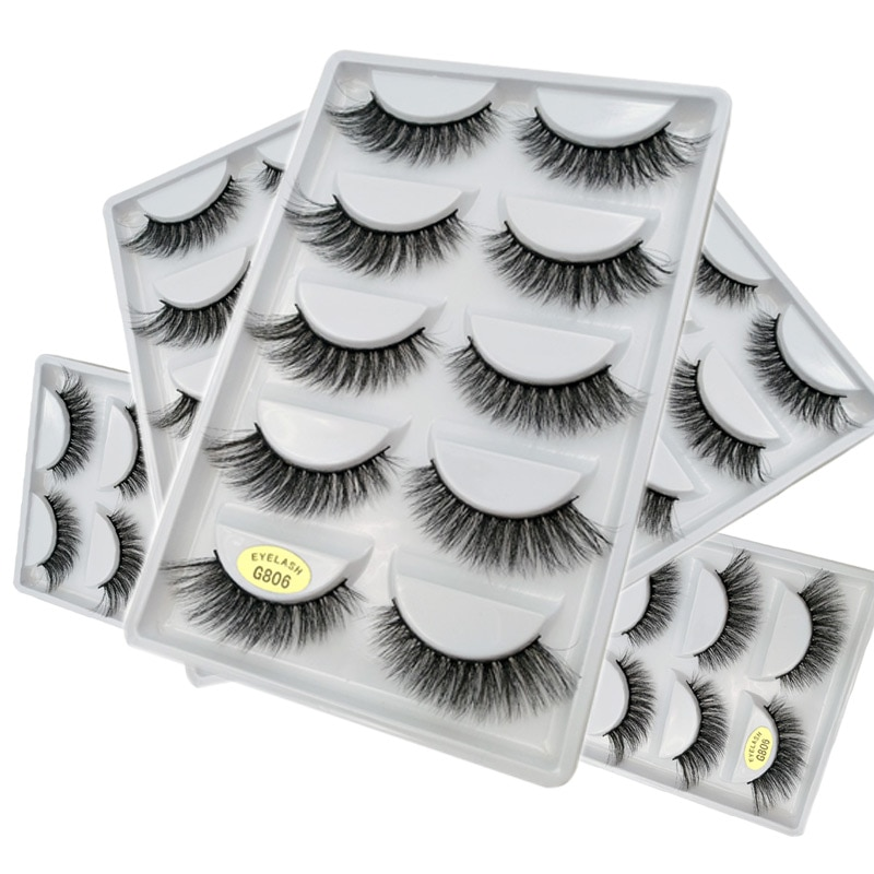 5 Pairs 3D Real Mink Fur Fake Eyelashes Messy Cross Thick Mink Fur Hand-made False Lashes