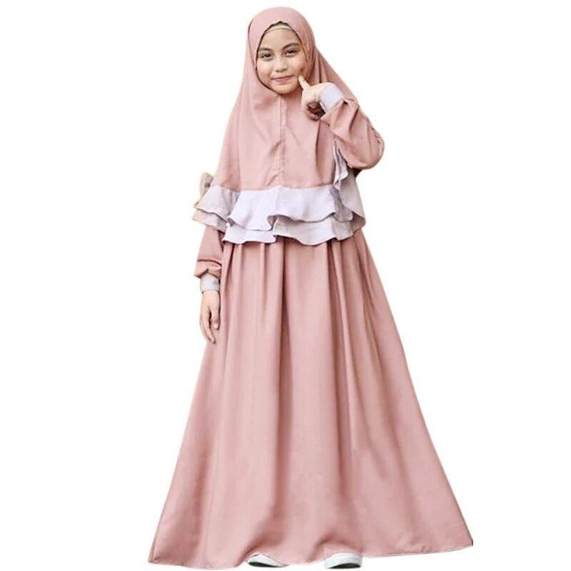 2018 Muslim Children's Dress Casual Muslim Abaya  with Hijab Bowknot Djellaba Dubai Robe Traditional Clothing Kids CC01396