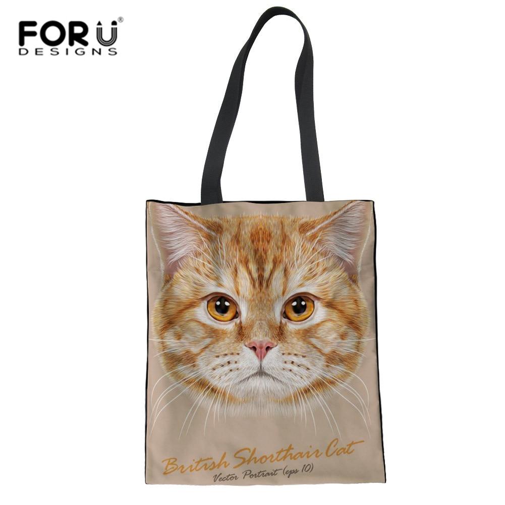 FORUDESIGNS, bolsos de lujo para mujer, bolsos de diseño 3D con estampado de cabeza de gato, bolsos de viaje, Bolsa femenina, bonito bolso tejido plegable, venta al por mayor