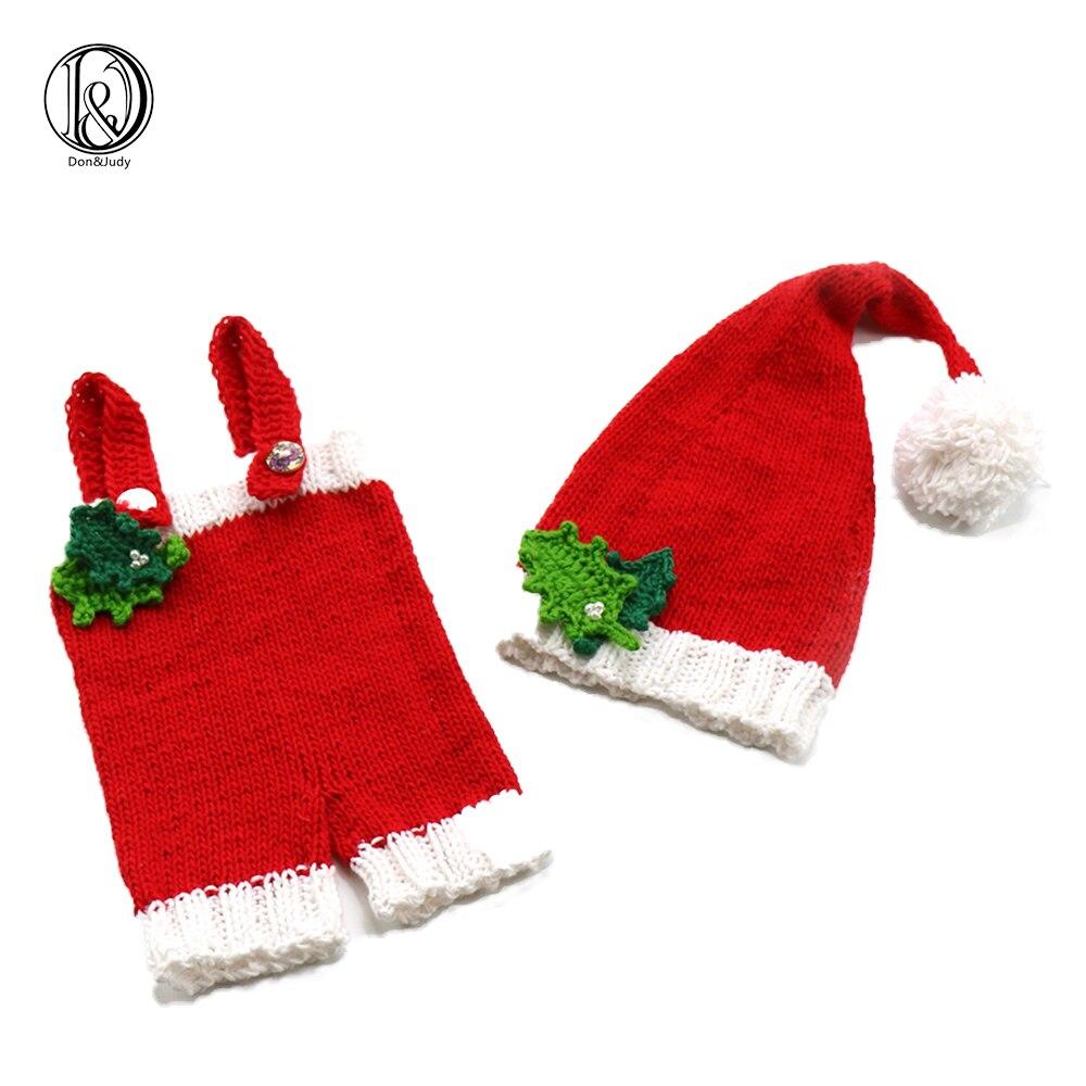 Handknit macio cottonchristmas papai noel define (calças com chapéu de cauda longa) fotografia recém-nascido adereços do chuveiro do bebê presente
