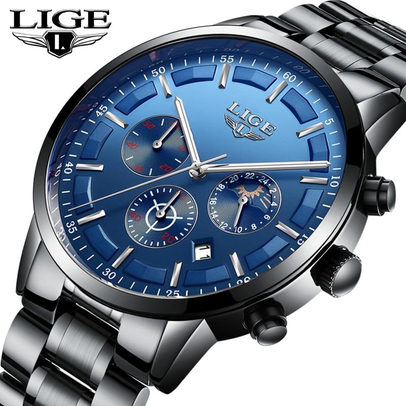 LIGE Top Luxury Brand 2018 New Mens Full Steel Fashion Casual Quartz Watch Men Business Waterproof Sport Watch Relogio Masculino
