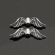 Doreenbeads 50 Stuks Zilver Kleur Angel Wing Charm Spacers Kralen 23 Mm X 7 Mm Sieraden Maken Accessoires Voor Diy (B05959)