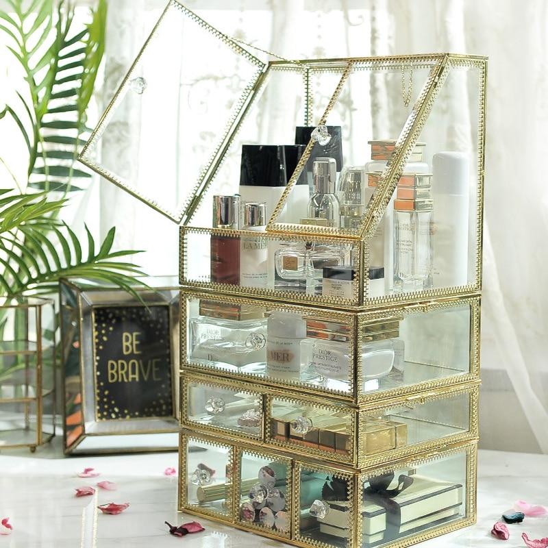 Organizador de maquillaje transparente de lujo de vidrio, caja de almacenamiento de lápiz labial cosmético, organizador de maquillaje, cajones de escritorio, organizador, regalo de chica