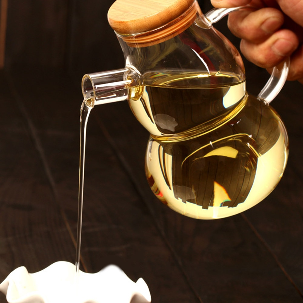 Glass Oil and Vinegar Sauce Container Kitchen Tools Olive Oil Vinegar Pot Dispenser Bottle Can Cruet Transparent Storage Bottles