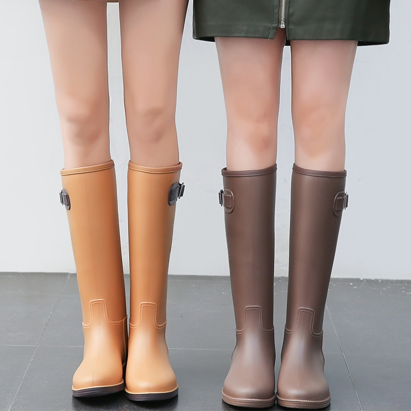 Simple Fashion Rain Boots Female Rain Boots Summer High Boots Water Boots Non-slip Rubber Shoes Ladies Water Shoes