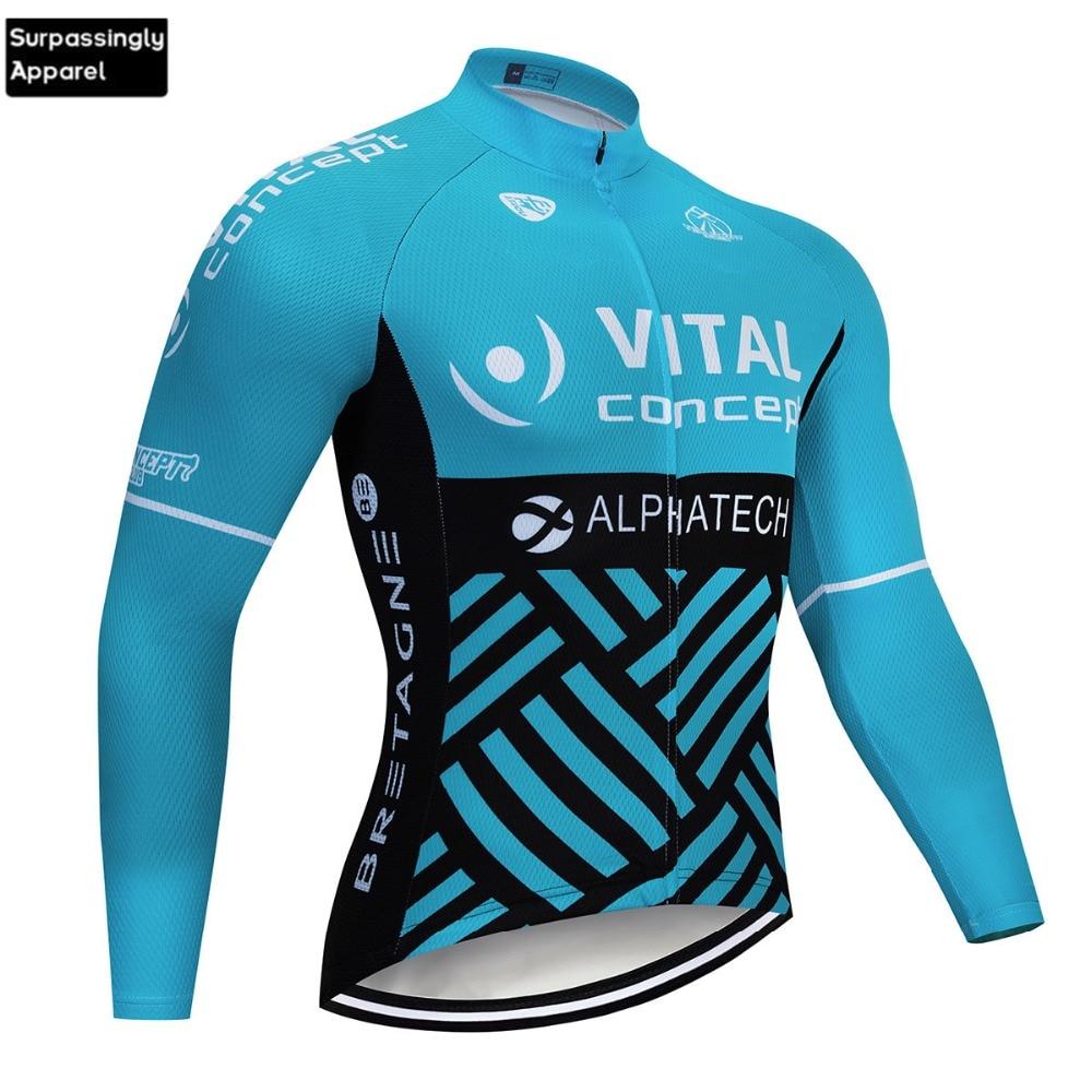 Nueva camiseta de manga larga azul VITAL Concept ciclismo equipo 2019 hombres motocicleta Motocross DH Downhill MX MTB Wear
