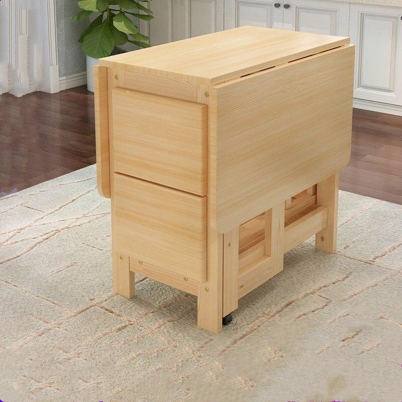 Mesa de comedor Plegable de madera maciza de alta calidad, Mesa de comedor Plegable multifuncional