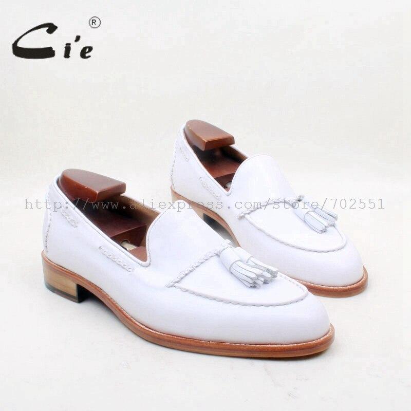 Cie круглый носок 100% натуральная кожа подошва на заказ клейкая рукоделие чисто белая кисточка слипоны мужская обувь № Лоферы 159