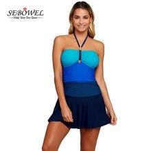 SEBOWEL 2018 Sexy Halter Swimdress One Piece Swimsuit Women Plus Size Color Block Swimwear Swim Dress Beachwear Bathing Suit 3XL