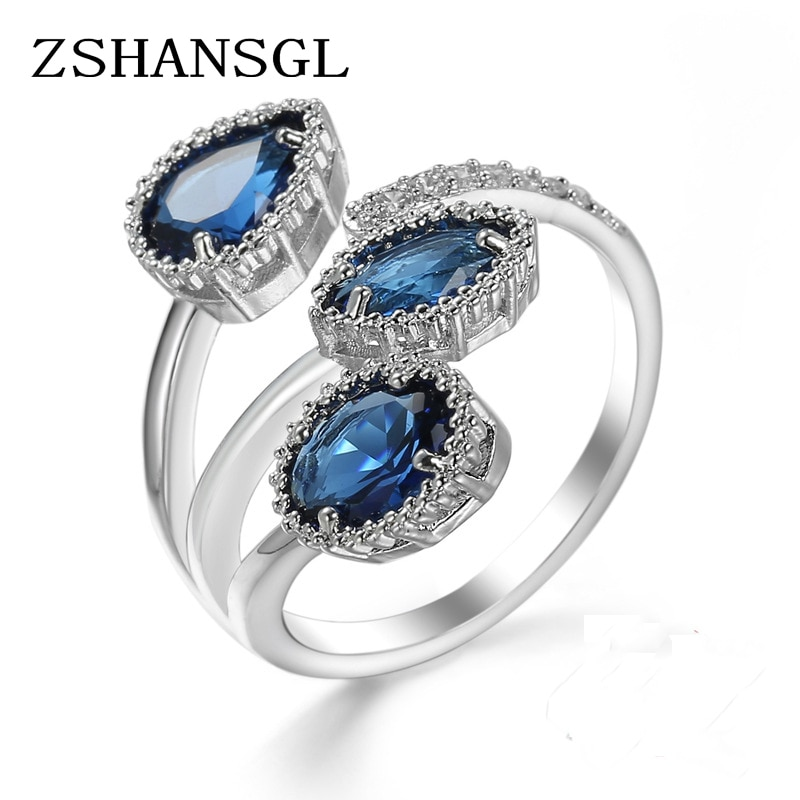 Clássico 925 prata esterlina alta qualidade claro azul sparking cz geométrica empilhável abertura anéis para o presente de jóias de casamento feminino