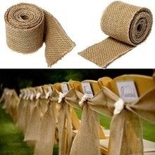200cm Natural Vintage Linen Ribbon Belt Jute Hessian Long Burlap Ribbon Rustic Wedding Belt Strap Decoration