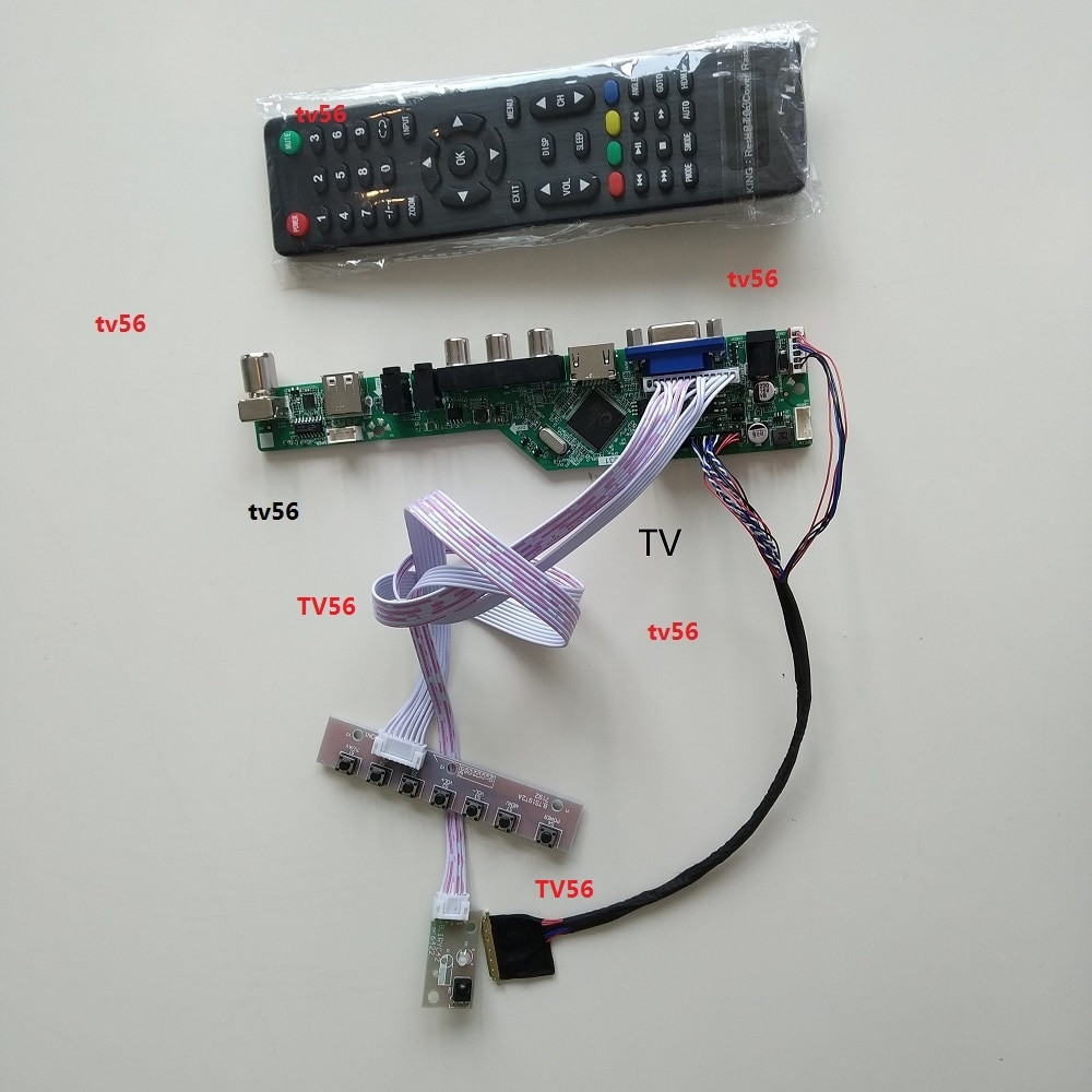 "Para B156XW02 15,6 ""1366X768 40pin Placa de controlador LCD VGADisplay Kit DVI HDMI pantalla Panel digital singel LED DIY"