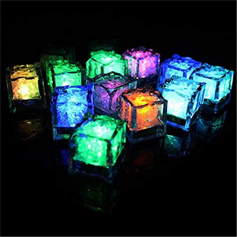 مصباح مكعبات الثلج LED ، ضوء فلاش LED متغير اللون لتزيين الحفلات ، أصفر ، أبيض ، 24 قطعة