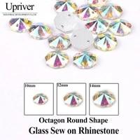 upriver 8mm 10mm 12mm 14mm 16mm 18mm round rivoli clear crystal sew on rhinestone glass crystal ab