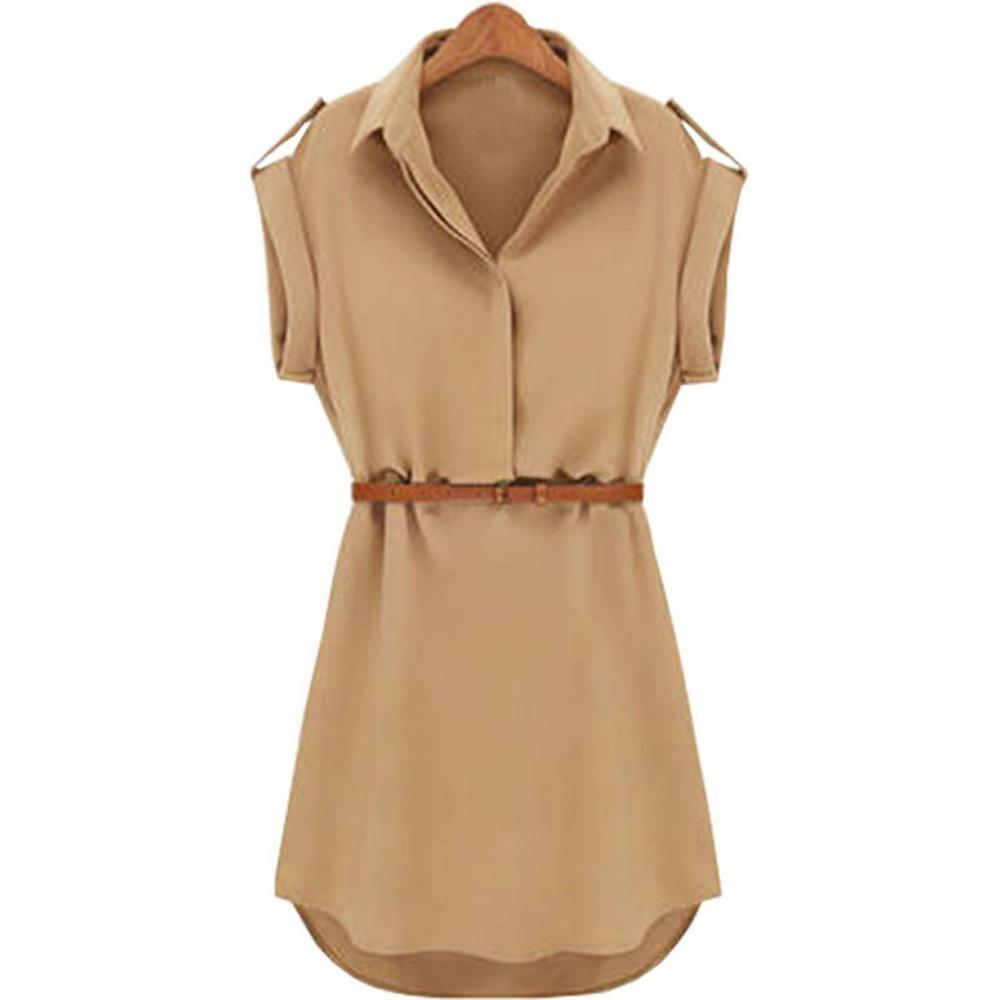 Vestido de gasa holgado, informal, de verano, de manga corta, con cinturón, gran oferta, estilo de oficina para mujer, novedad de 2019