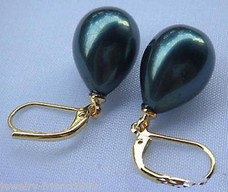 Oferta nuevo estilo> 12x16mm carcasa de Mar Negro del Sur perla gota pendientes de palanca AAA