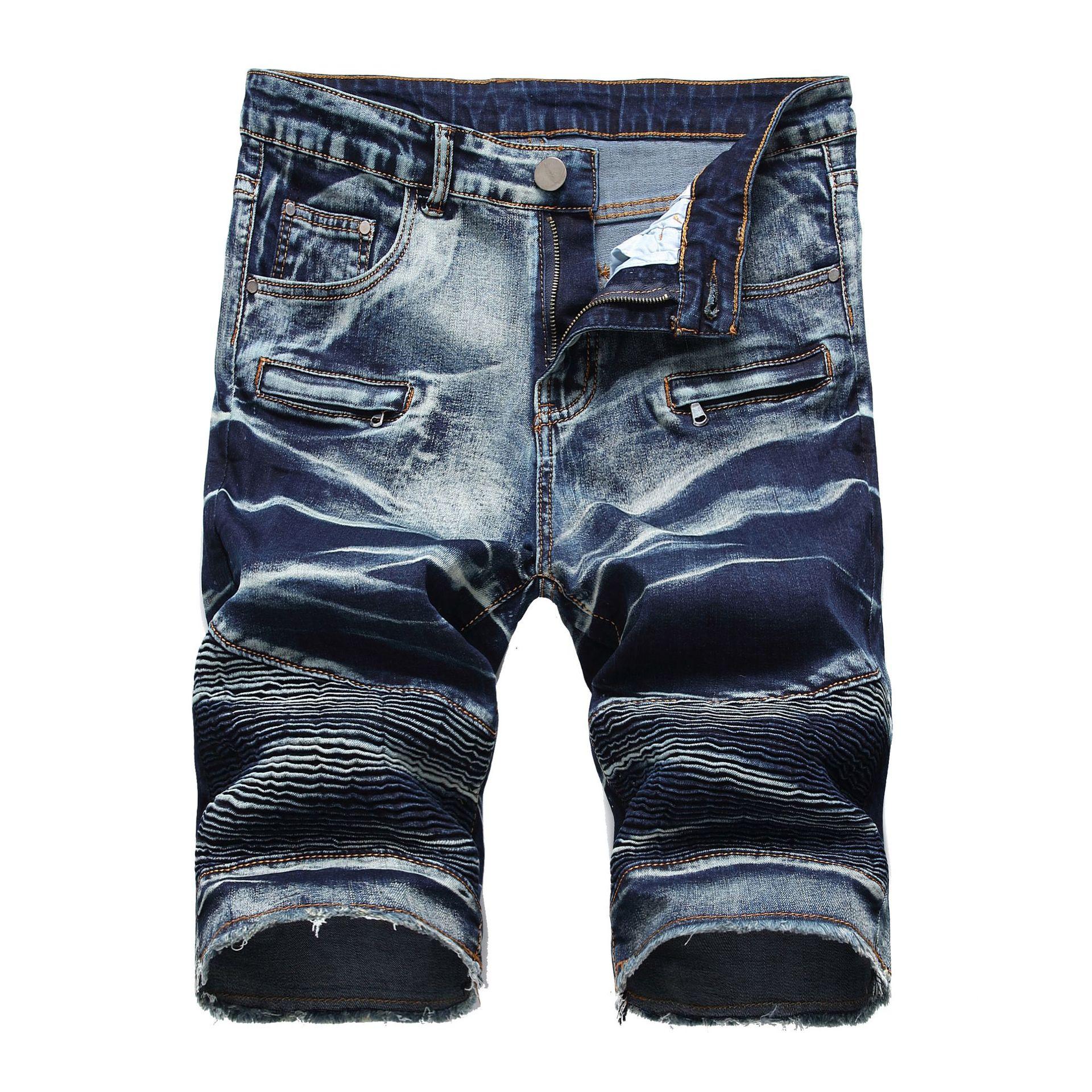 Pantalones cortos vaqueros de estilo veraniego para hombres, pantalones cortos vaqueros punk para hombre, pantalones cortos vaqueros elásticos de talla grande, pantalón corto informal para hombre