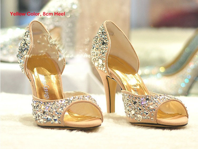 Verano moda tacones altos bomba de diamantes de imitación fiesta noche vestido Formal zapatos Peep Toe Sandalias Zapatos de boda Stiletto brillante