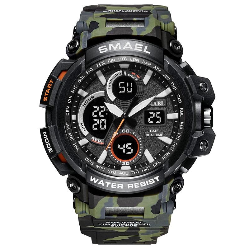 SMAEL, reloj deportivo para hombre a la moda, para exteriores, con pantalla Dual, analógico, Digital, LED, electrónico, fuerte, PU, reloj de pulsera para hombre, zegarek
