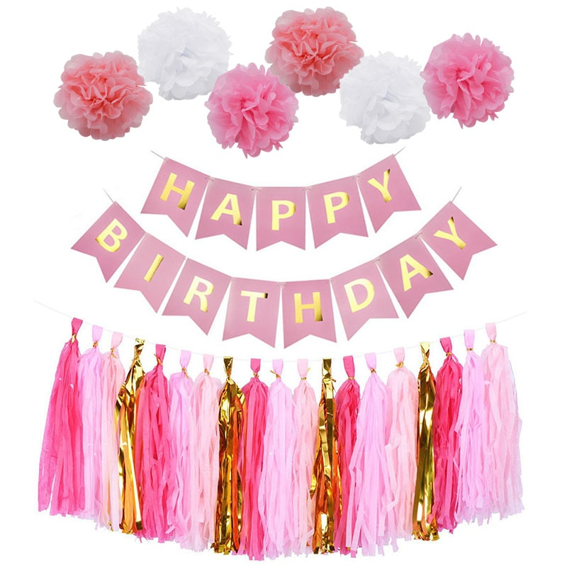 1 Set Happy Birthday Bunting Banner Tissue Paper Tassel Garland Pompom Birthday Decorations Baby Shower Kids Party Favors