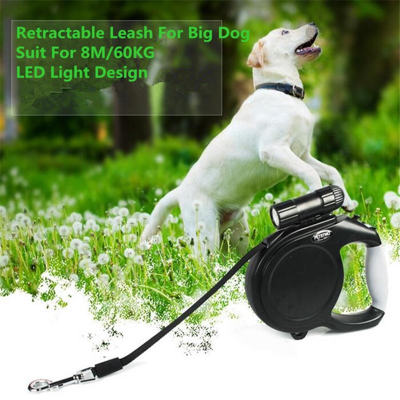 Durable Large Big Dog Leash Retractable Pet Leads LED Light Extending Automatic 8M 60KG Hauling Cable For German Shepherd Dog