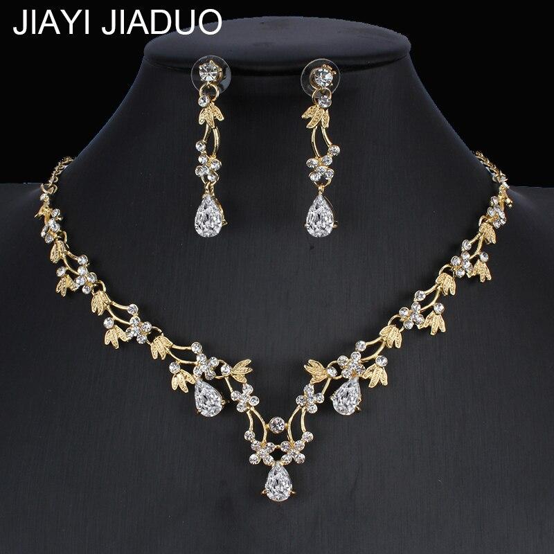 �� Conjunto de joias para casamento, brincos para mulheres, colar, cor dourada, acessórios de fantasia de noiva
