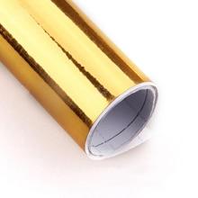 "30cm X 152cm Golden Chrome Air Free Mirror Vinyl Wrap Film Sticker Sheet Decal 12""X60"" Adhesive Emblem Car Styling"