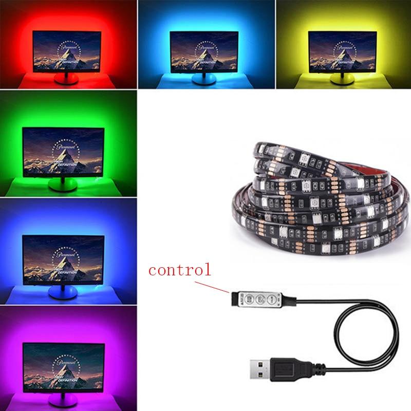 ТВ Фоновая светодиодная лента ленты диодной ленты Гибкий контроллер RGB 5050 1M DC 12V Z20 SMD SMD5050 Гостиная движения 3000K