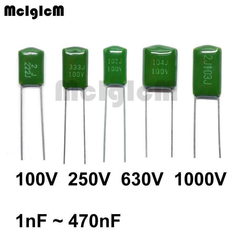 MCIGICM condensador de película de poliéster 2A102J 2J102J 2A332J 3A332J 2A562J 2A223J 2A104J 2A154J 2A474J 100V 630V 1000V 1000pF 100nF