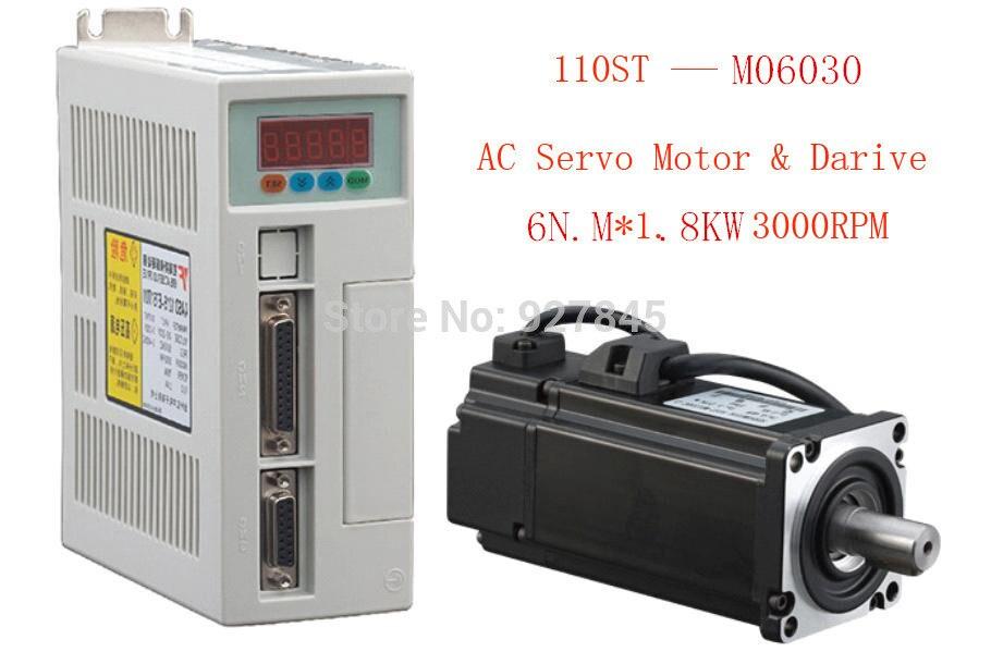 Nuevo kit de servosistema 6N.M 1.8KW 3000RPM 110ST AC servomotor combinado servocontrolador 220V monofásico