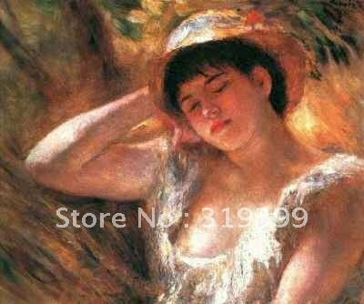Reproducción de pintura al óleo sobre lienzo de lino, chica joven durmiendo por pierre auguste renoir, envío gratis por DHL, hecho a mano