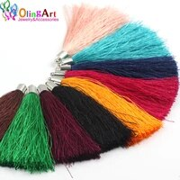 olingart 75mm 6pcs silver cap color mixing polyester silk tassels diy necklace earrings jewelry with keychain charm pendant