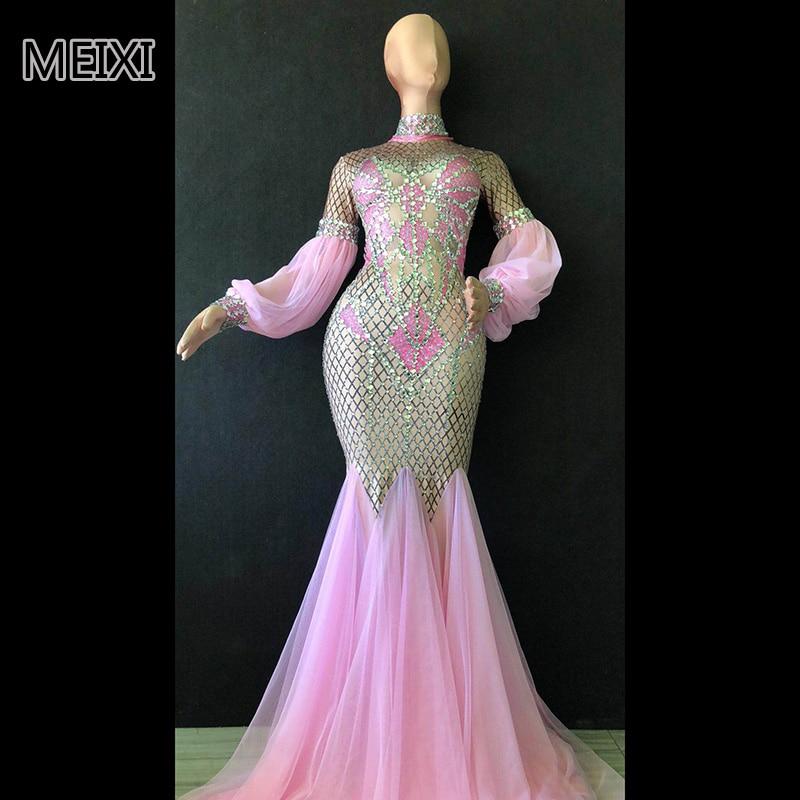 Super brillante, cristal rosa, diamantes de imitación, elástico, vestido para bar, discoteca, concierto, cantante, traje de bailarina