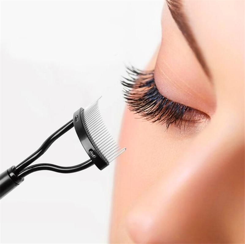 Em estoque 1 pçs feminino cílios pente lash separador rímel elevador onda escova de metal beleza maquiagem cílios ferramenta essencial presente