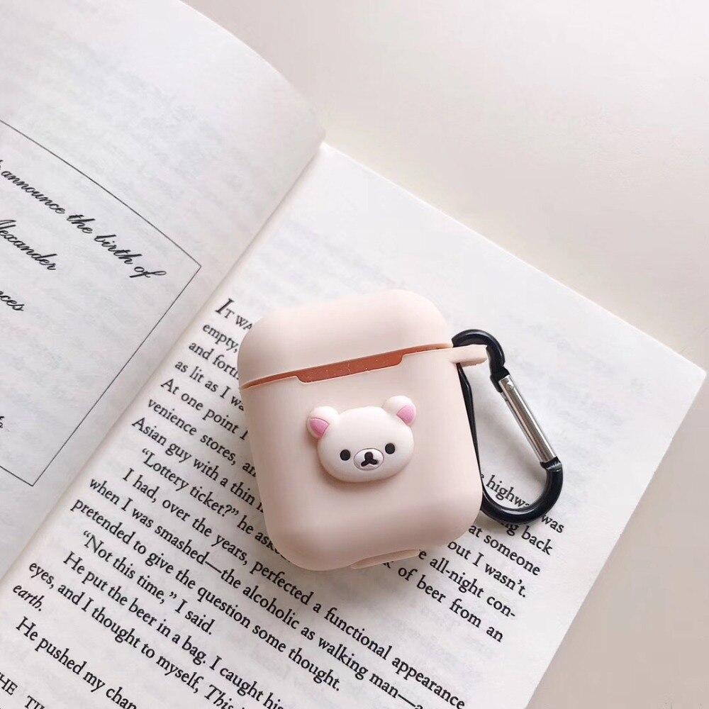 TPU suave silicona Bluetooth auriculares inalámbricos para AirPods caja de carga cubierta protectora línea amigos piel pato, conejo, oso