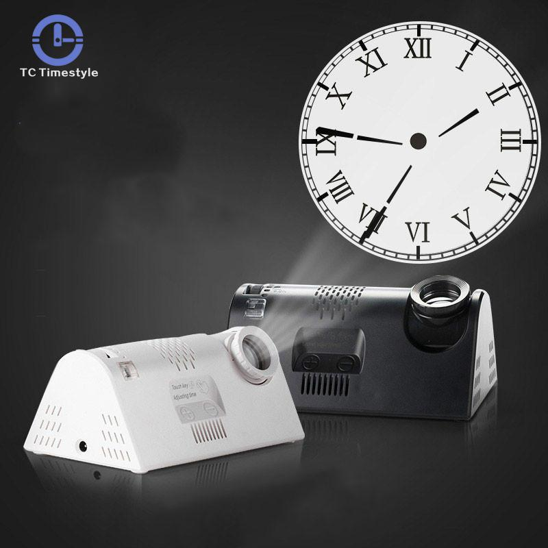 Multi-função de projeção despertador eletrônico sala de estar relógio desktop europeu digital night light arte decoração do escritório
